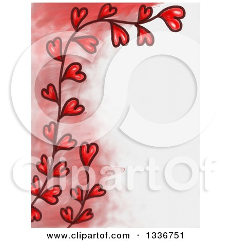 Clipart of a Red Fade and Heart Vine Valentines Day Border with White Text Space - Royalty Free Illustration by Prawny