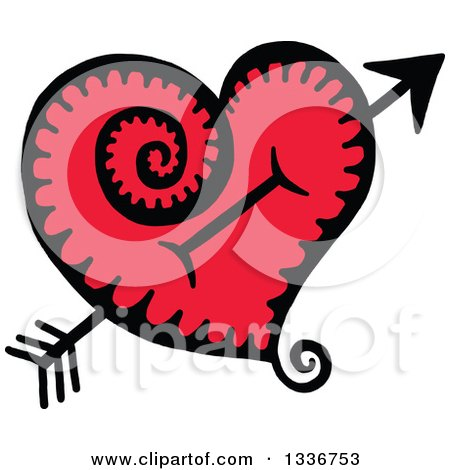 Clipart of a Sketched Doodle of Cupids Arrow Through a Red Heart with a Spiral Tail - Royalty Free Vector Illustration by Prawny