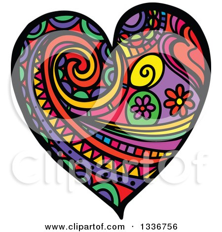 Clipart of a Colorful Folk Art Patterned Heart - Royalty Free Vector Illustration by Prawny