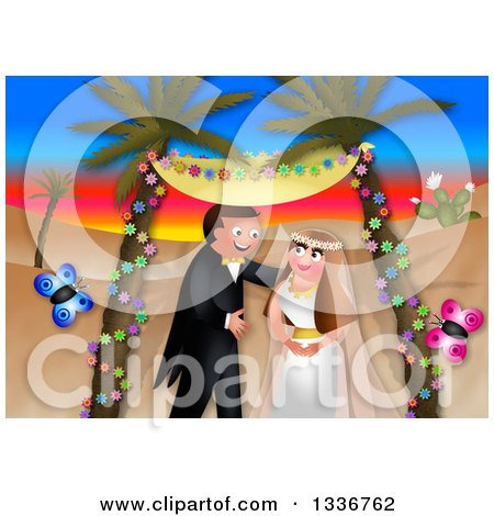 Clipart of a Happy Caucasian Wedding Couple Getting Married in an Exotic Desert Sunset Landscape, with Butterflies - Royalty Free Illustration by Prawny