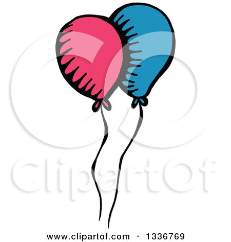 Clipart of a Sketched Doodle of Party Balloons - Royalty Free Vector Illustration by Prawny