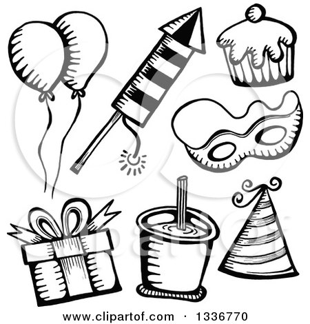 Clipart of Sketched Doodles of Black and White Party Items - Royalty Free Vector Illustration by Prawny