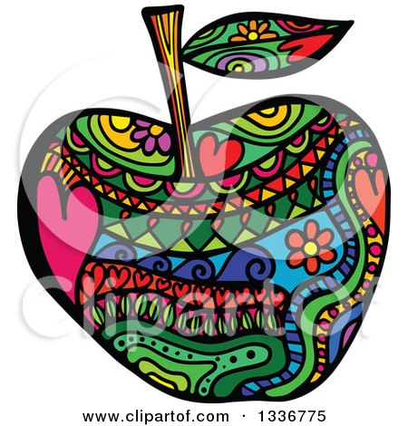 Clipart of a Colorful Folk Art Patterned Apple - Royalty Free Vector Illustration by Prawny