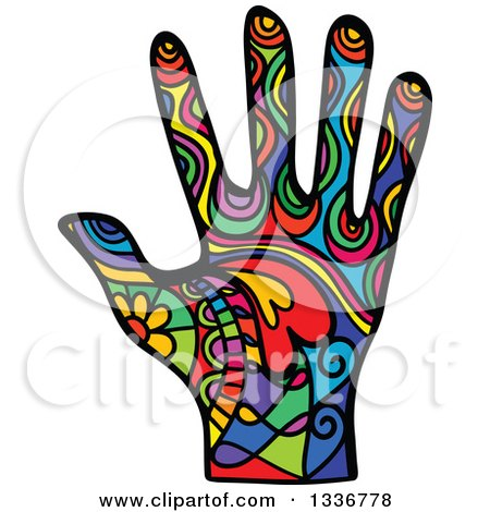 Clipart of a Colorful Patterned Folk Art Human Hand - Royalty Free Vector Illustration by Prawny