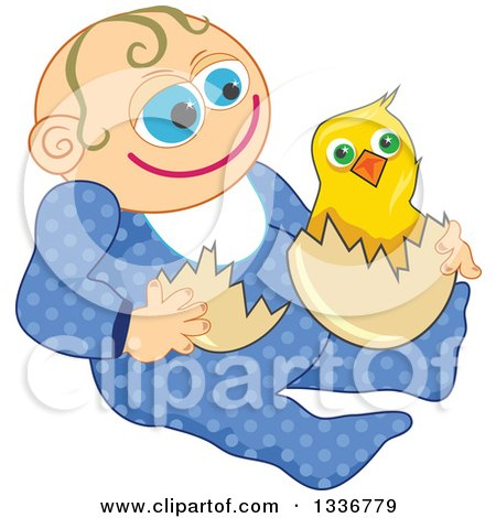 Clipart of a Happy Caucasian Baby Boy with an Easter Chick - Royalty Free Vector Illustration by Prawny