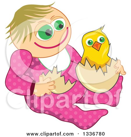 Clipart of a Happy Caucasian Baby Girl with an Easter Chick - Royalty Free Vector Illustration by Prawny