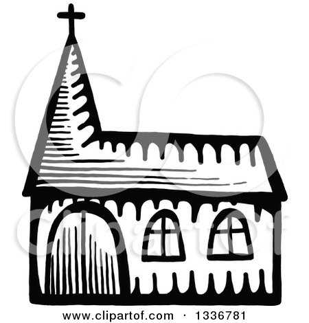 Clipart of a Sketched Doodle of a Black and White Church Building - Royalty Free Vector Illustration by Prawny