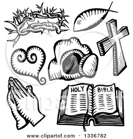 Clipart of Sketched Doodles of Black and White Christian Icons - Royalty Free Vector Illustration by Prawny