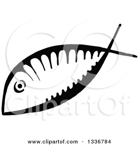Clipart of a Sketched Doodle of a Black and White Ichthus Christian Fish - Royalty Free Vector Illustration by Prawny