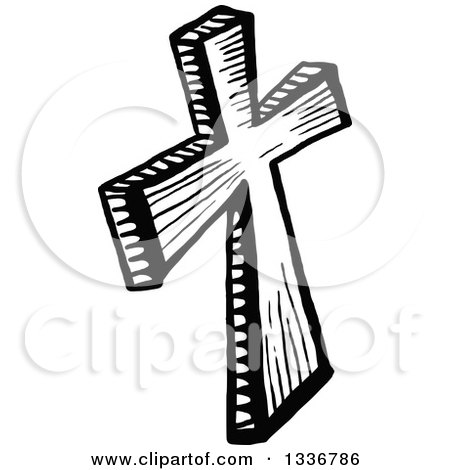 Clipart of a Sketched Doodle of a Black and White Wooden Christian Cross - Royalty Free Vector Illustration by Prawny