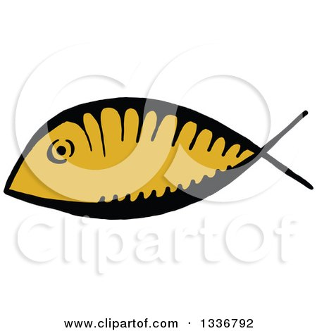 Clipart of a Sketched Doodle of a Ichthus Christian Fish - Royalty Free Vector Illustration by Prawny