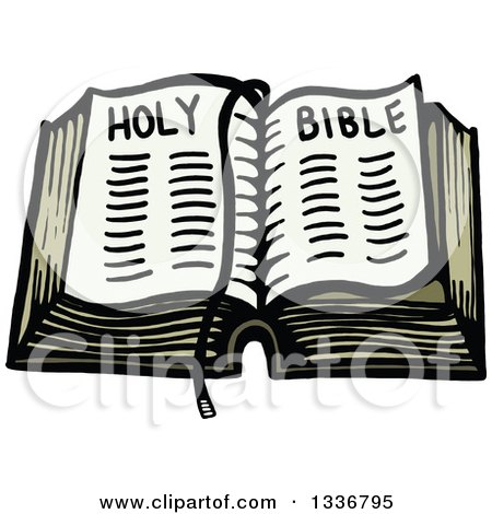 Clipart of a Sketched Doodle of an Open Holy Bible - Royalty Free Vector Illustration by Prawny