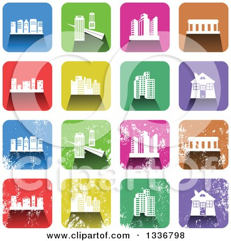 Clipart of Colorful Square Shaped Architecture Icons with Rounded Corners, Clean and Distressed Grungy Versions - Royalty Free Vector Illustration by Prawny
