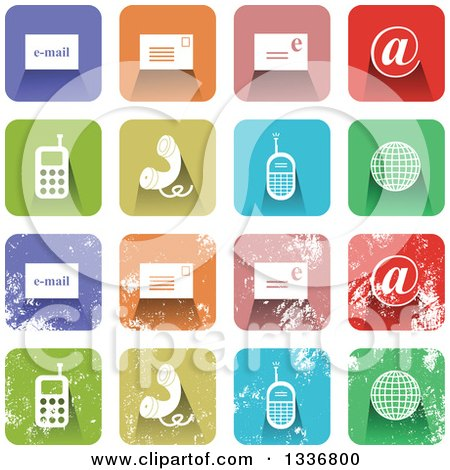 Clipart of Colorful Square Shaped Communications Icons with Rounded Corners, Clean and Distressed Grungy Versions - Royalty Free Vector Illustration by Prawny
