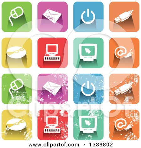 Clipart of Colorful Square Shaped Computer Icons with Rounded Corners, Clean and Distressed Grungy Versions - Royalty Free Vector Illustration by Prawny