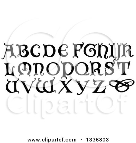 Clipart of Black and White Vintage Styled Capital Alphabet Letters - Royalty Free Vector Illustration by Prawny