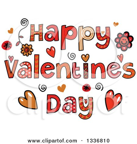 Clipart of Patterned Sketched Happy Valentines Day Text with Flowers and Hearts - Royalty Free Vector Illustration by Prawny