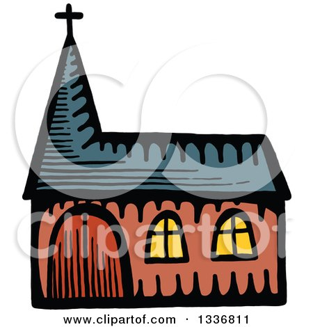 Clipart of a Sketched Doodle of a Church Building - Royalty Free Vector Illustration by Prawny