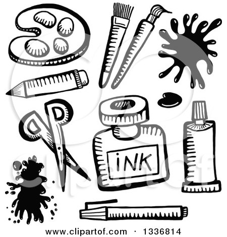 Clipart of Sketched Black and White Doodled Art Supplies - Royalty Free Vector Illustration by Prawny