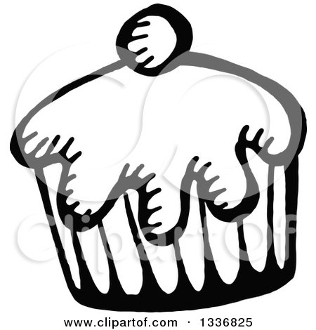 Clipart of a Sketched Doodle of a Black and White Cupcake - Royalty Free Vector Illustration by Prawny