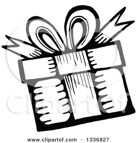 Clipart of a Sketched Doodle of a Black and White Birthday Gift - Royalty Free Vector Illustration by Prawny