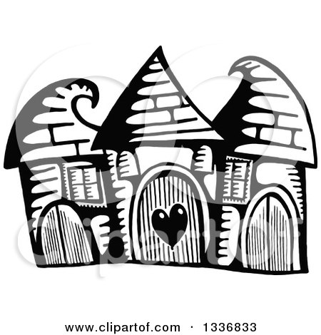 Clipart of a Sketched Black and White Doodle of Cute Buildings with Curling Roof Tops - Royalty Free Vector Illustration by Prawny