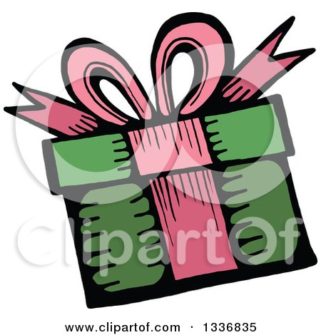 Clipart of a Sketched Doodle of a Birthday Gift - Royalty Free Vector Illustration by Prawny