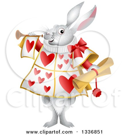 Clipart of a White Herald Rabbit Holding a Scroll and Blowing a Trumpet - Royalty Free Vector Illustration by Prawny