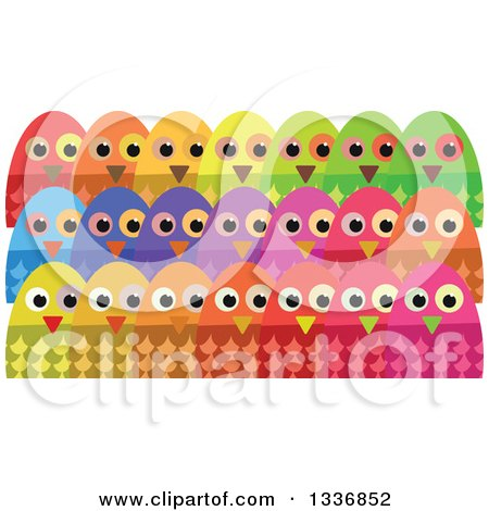 Clipart Of Colorful Crowd Of Owls Royalty Free Vector Illustration