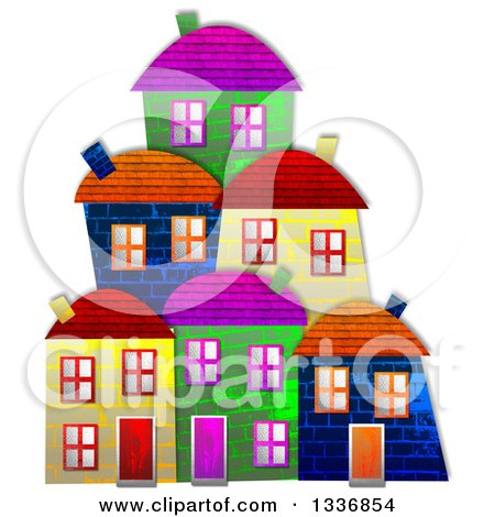 Clipart of Colorful Village Building Facades with a Shadow on White - Royalty Free Illustration by Prawny