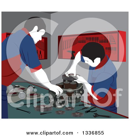 Clipart of Male Mechanics Working on Car Engine Parts in a Garage - Royalty Free Vector Illustration by David Rey