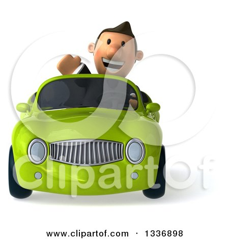 Clipart of a 3d Short Caucasian Businessman Waving and Driving a Green Convertible Car - Royalty Free Illustration by Julos