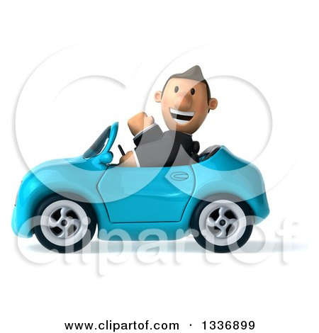 Clipart of a 3d Short Caucasian Businessman Waving and Driving a Blue Convertible Car 2 - Royalty Free Illustration by Julos