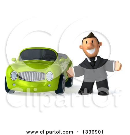 Clipart of a 3d Short Caucasian Businessman Welcoming by a Green Convertible Car - Royalty Free Illustration by Julos