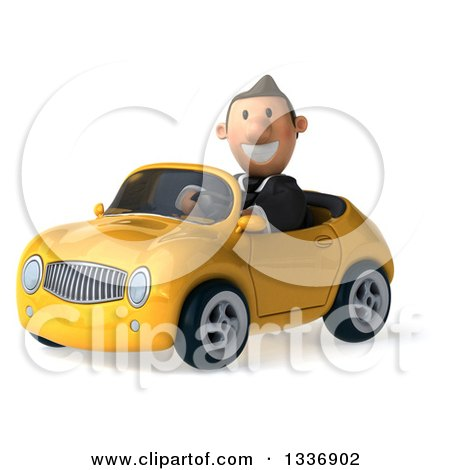 Clipart of a 3d Short Caucasian Businessman Driving a Yellow Convertible Car - Royalty Free Illustration by Julos