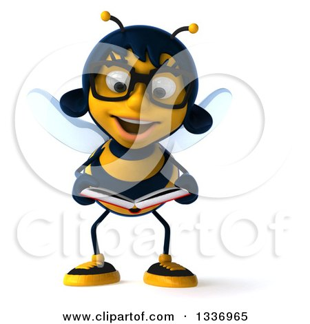 Clipart of a 3d Bespectacled Female Bee Reading a Book - Royalty Free Illustration by Julos