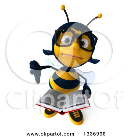 Clipart of a 3d Bespectacled Female Bee Holding up a Thumb down and an Open Book - Royalty Free Illustration by Julos