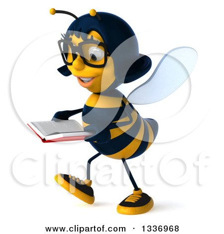 Clipart of a 3d Bespectacled Female Bee Walking to the Left and Reading a Book - Royalty Free Illustration by Julos