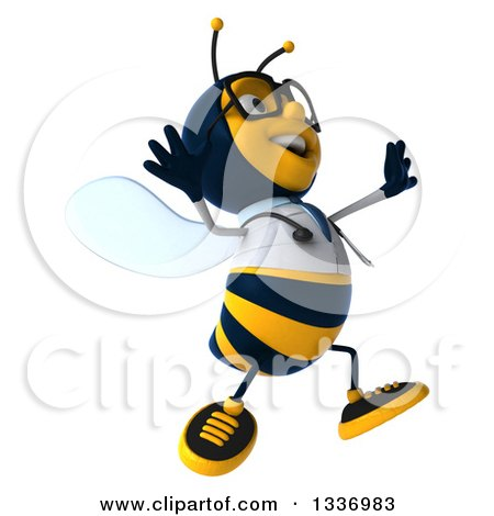 Clipart of a 3d Happy Bespectacled Bee Doctor Facing Right and Jumping - Royalty Free Illustration by Julos