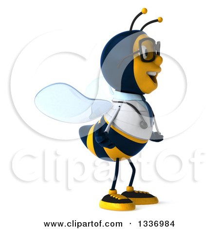 Clipart of a 3d Happy Bespectacled Bee Doctor Facing Right - Royalty Free Illustration by Julos