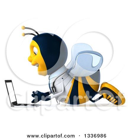 Clipart of a 3d Happy Bee Doctor Facing Left and Using a Laptop Computer on the Floor - Royalty Free Illustration by Julos