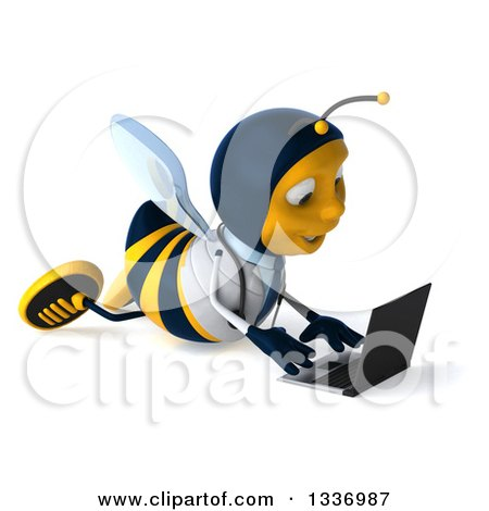 Clipart of a 3d Happy Bee Doctor Facing Right and Using a Laptop Computer on the Floor - Royalty Free Illustration by Julos