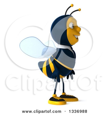 Clipart of a 3d Happy Business Bee Facing Right - Royalty Free Illustration by Julos