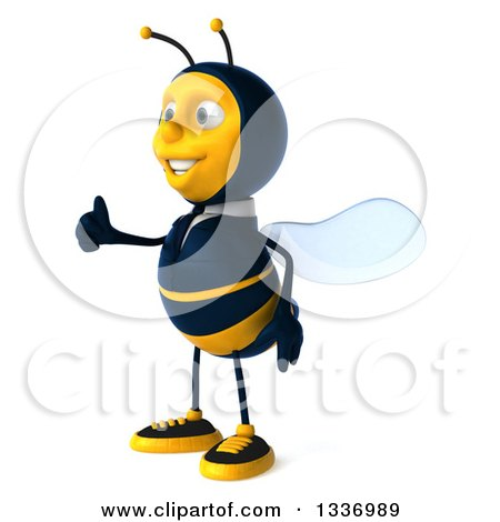 Clipart of a 3d Happy Business Bee Facing Left and Giving a Thumb up - Royalty Free Illustration by Julos