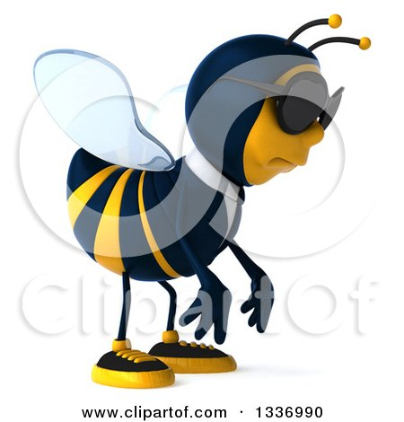 Clipart of a 3d Sad Business Bee Wearing Sunglasses and Facing Right - Royalty Free Illustration by Julos
