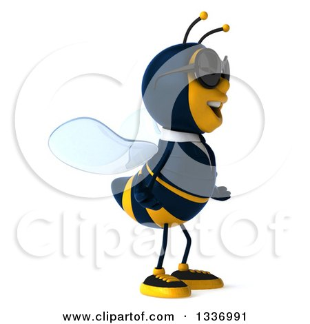 Clipart of a 3d Happy Business Bee Wearing Sunglasses, Shrugging and Facing Right - Royalty Free Illustration by Julos