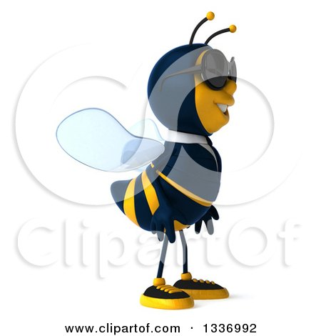 Clipart of a 3d Happy Business Bee Wearing Sunglasses and Facing Right - Royalty Free Illustration by Julos