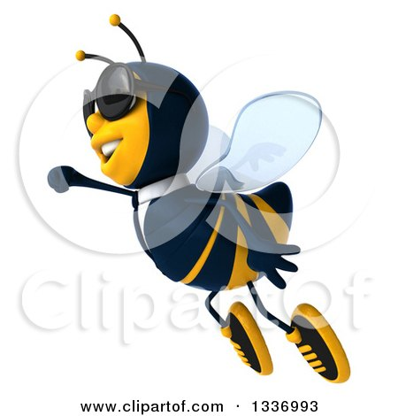 Clipart of a 3d Happy Business Bee Wearing Sunglasses and Flying to the Left - Royalty Free Illustration by Julos