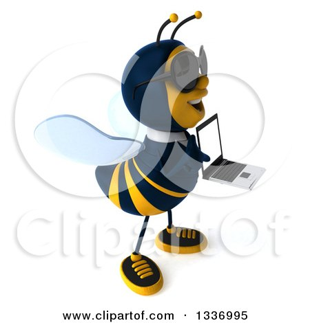 Clipart of a 3d Happy Business Bee Wearing Sunglasses, Facing Right and Holding a Laptop Computer - Royalty Free Illustration by Julos
