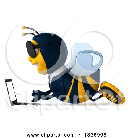 Clipart of a 3d Happy Business Bee Wearing Sunglasses, Facing Left and Using a Laptop on the Floor - Royalty Free Illustration by Julos